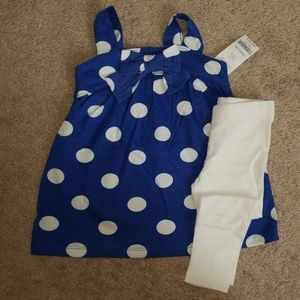 Blue and White tank top with white tights